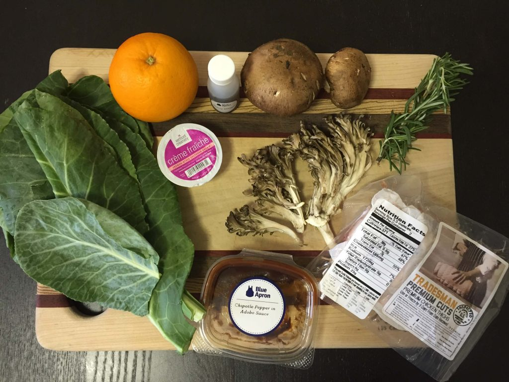 all the blueapron ingredients on cutting board